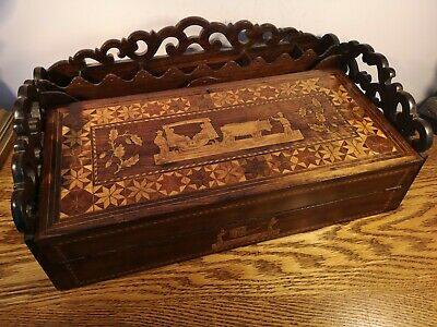 SUPER LARGE VICTORIAN DECORATIVELY INLAID COLONIAL STYLED WRITING SLOPE c1885