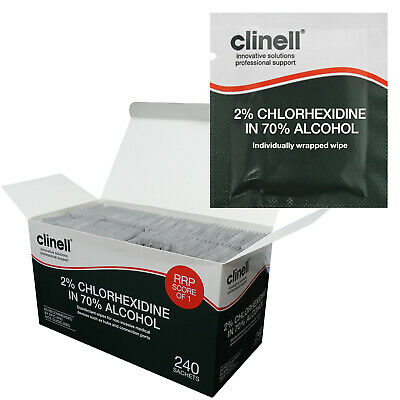 Full Box - Clinell Chlorhexidine Alcohol Equipment Tool Disinfecting Wipes (240)
