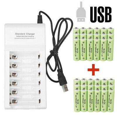 Lot AA Rechargeable Batteries NiCd Ni/Cd 700mAh 1.2v Garden Solar Ni-Cd Light US