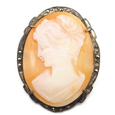 Vintage Estate Oval Brass Marcasite Cameo Brooch Pin / Pendant 1.34 Inch