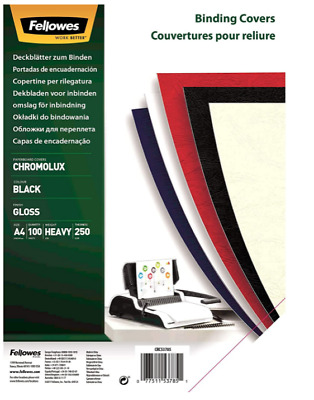 Fellowes Binding Covers Chromolux - A4 Cover Sheets, Black, 100 Pc