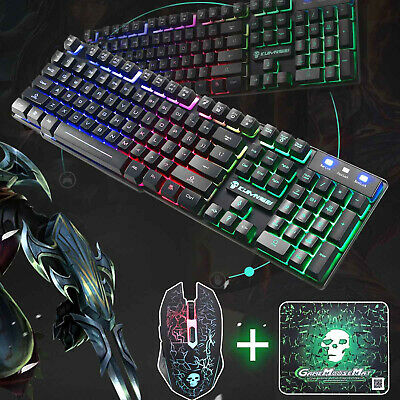 Keyboard Mouse Set PC PS4 PS3 Xbox One T6 and Gaming Rainbow Backlit Mechanical