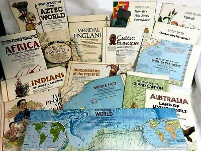 National Geographic Vintage Lot of 16 Maps From the 70's & 80's