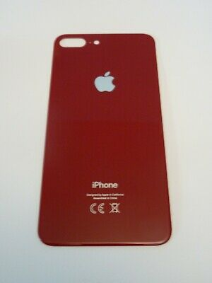 Vitre Arriere Iphone 8 Plus + Logo - Rouge - Adhesif Inclus