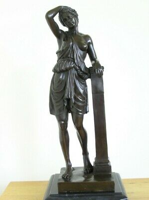 Semi-Nude Topless Young Woman in Roman Style Dress Metal Bronze Statue 46cm 6kg