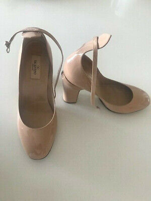 b1f40becea VALENTINO Patent Beige Tango Tan-Go Ankle Strap Pump Heel Shoes sz 38.5