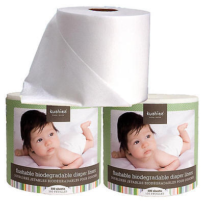 6 Pack Kushies Flushable Biodegradable Cloth or Disposable Diaper Liners 533500