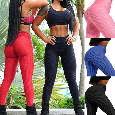 Womens Yoga Gym Anti-Cellulite Compression Leggings Push Up Fitness Sports Pants