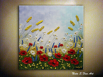 Abstract Poppy Painting, Impasto Art, Floral Landscape, Wildflowers Art by Nata