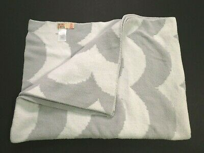 Harper Canyon Light gray white wave Super soft knit 38 x 30 baby blanket