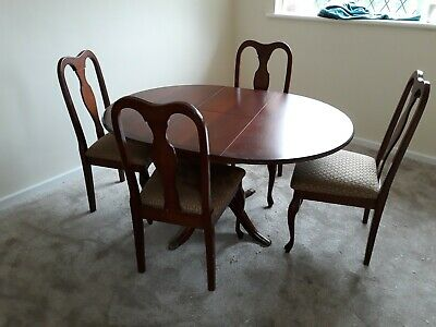 Regency Style Mahogany Extending Oval Dining Table with 4 Chairs