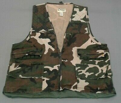 8b1e46eef106a Vintage Sports Afield Camo Hunting Shooting Vest w/ Game Bag Men's XL  Camouflage