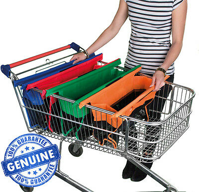 Trolley Bags Express Vibe - Set of 4 Reusable Supermarket Shopping Bags.