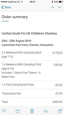 Carfest South Camping & Entry Tickets