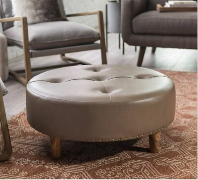 Awesome Bombay Company Round Tufted Brown Leather Paisley Stool Gmtry Best Dining Table And Chair Ideas Images Gmtryco
