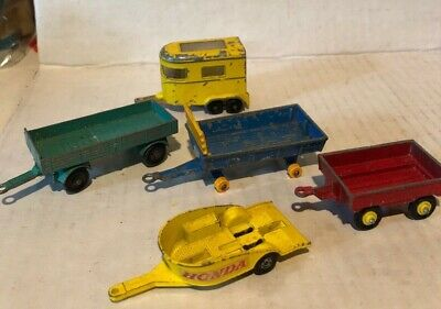 1970 MATCHBOX LESNEY Yellow  PONY TRAILER Honda Farm Trailers Vintage Red Blue