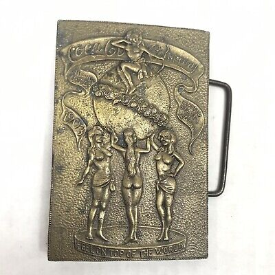 Coca Cola Belt Buckle Brass Naked Women Feel on Top of the World Lewis Buckles