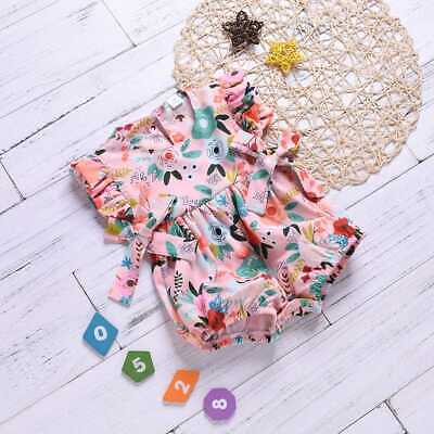 0-24M Newborn Sweet Baby Girl Floral Ruffle Bow Romper Jumpsuit Outfits Clothing