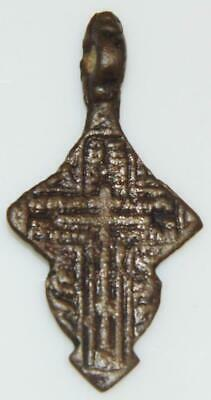 Nice Medieval Byzantine Bronze Cross Holy Medal Pendant Old Orthodox Church 42mm