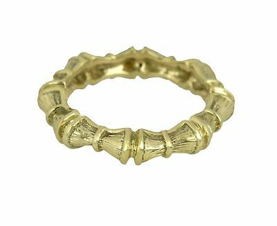 Women's Vintage Estate 14k Yellow Gold 3mm Bamboo Style Eternity Band Ring
