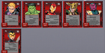 Topps Marvel Collect Card Trader Marvel 101 Wave 1 Set of 5 w/ Iron Man Award