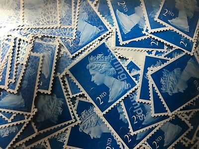 100 2nd Class Unfranked Stamps Off Paper All Blue Security Excellent Condition