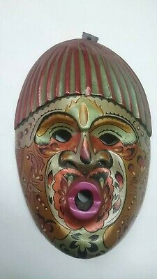 Colombian Wood Face Art Mask Indigenous Tribal Carved Hand Decorated In Varnish