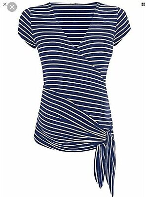 Jojo Maman Navy Breton Stripe Wrap Top, Small, Excellent Condition, Never Worn