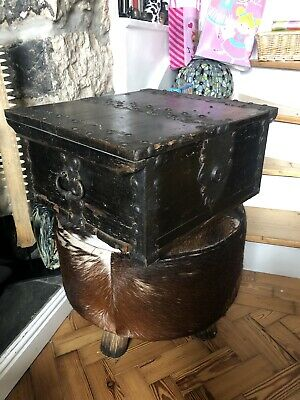Antique Iron Bound Pine Strong Box Bible Box 17th Century Oak Lovers Look