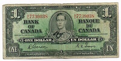 1937 CANADA ONE DOLLAR NOTE - p58d