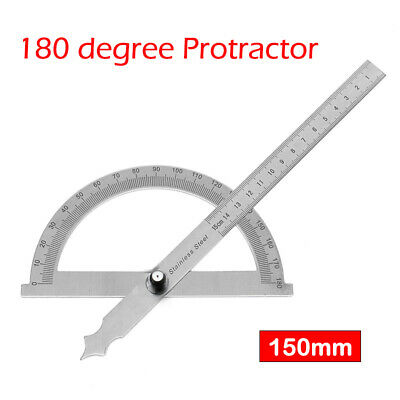 Stainless Steel 180 Protractor Angle Finder Arm Measuring Ruler 150mm