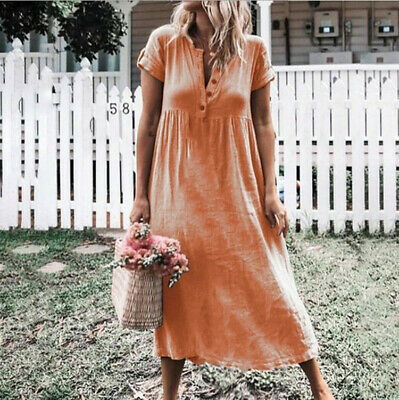 Summer New Solid Plus Size Women Buttons V Neck Sleeveless Loose Long Dress