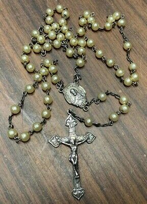 """925 Sterling Silver Rosary~Cross~Bead~24""""ID~Vintage~Mother Mary~Jesus"""