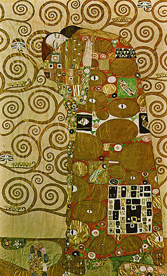 Oil painting Gustav Klimt - Fulfillment abstract young lovers only canvas