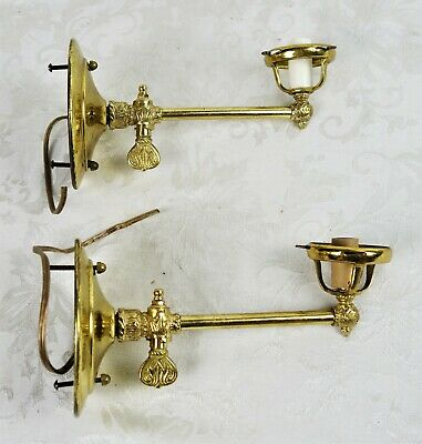 Vintage Antique 19th Century Electrified Brass Gas Light Wall Sconce Fixture