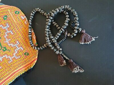 Old Tibetan Black Glass Prayer Beads …beautiful collection piece