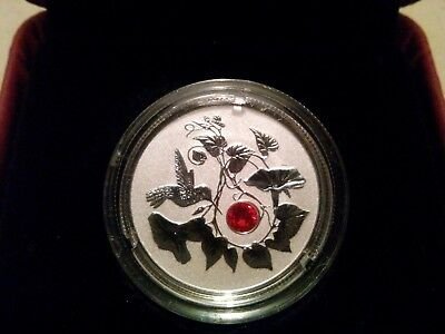Hummingbird and morning glory 3$ fine silver coin.