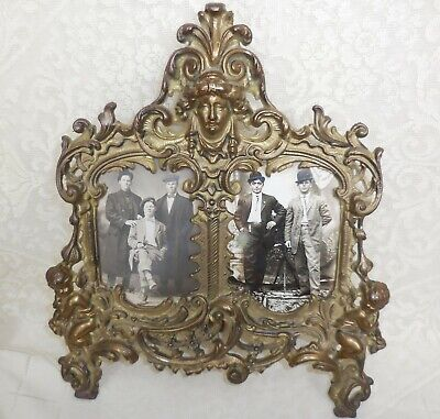 Vintage Brass Baroque Rococo Victorian Style Table Top Frame with Antique Photos