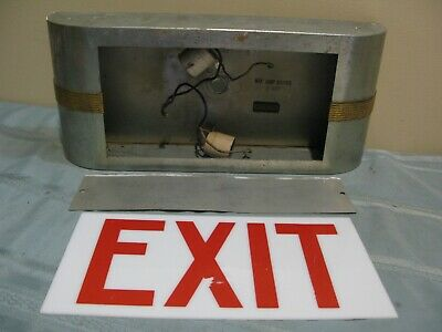 VINTAGE 1940's ART DECO STYLE METAL & GLASS EXIT SIGN by NOVELTY LTG. CORP.