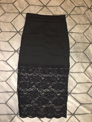 28a3cb490 Charlotte Russe Pencil Knee-Length Skirt Womens Size Small Black Lace Trim