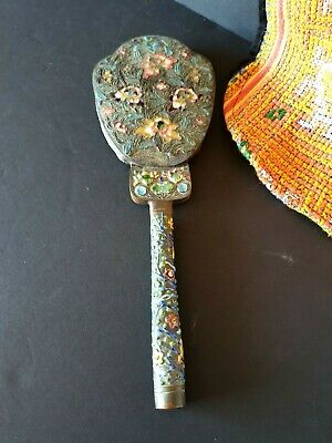 Old Japanese Cloisonné Enameled Copper Vanity Hand Mirror …beautiful collection