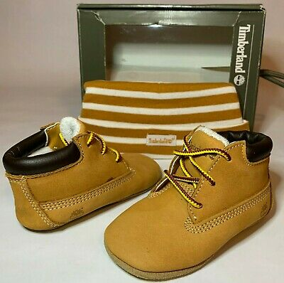 3ad2109d Baby CRIB Timberland Infant Wheat Leather Baby Booties Size 3c Hat GIFT SET
