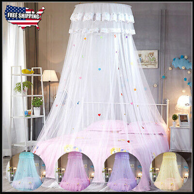 New Women Princess Lace Bed Mosquito Netting Mesh Canopy Round Dome Bedding Net