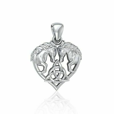 Horse Triquetra Celtic Pendant .925 Sterling Silver by Peter Stone Jewelry