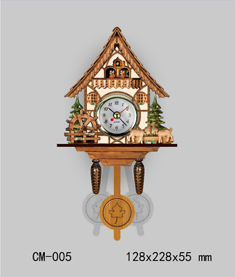 LE Hot German Cuckoo Wall Clock 3D Decorative wall clock Battery Power Supply