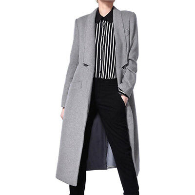LE 2019 High-end Original Women Long Gray Suit Collar Open Front Wool Peacoat