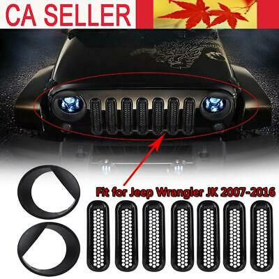 Front Grill Inserts Mesh Trim&Big Eye Headlight Bezels for Jeep Wrangler JK07-16