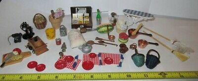 VTG Dollhouse Kitchen Pots Pan Metal Dishes Telephone Gardening  Accessories Lot