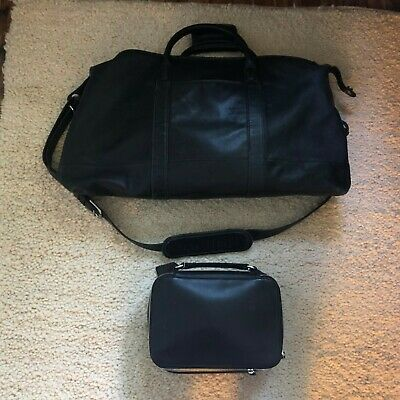 Coach Large Duffle Carry-On Cabin Travel Bag Black Leather Toiletry Case Set