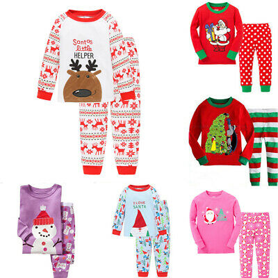 Kids Boys Girl Christmas Pajamas Outfit Set Sleepwear Nightwear 2-7Y Cotton 2Pcs